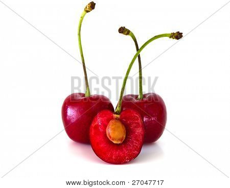 Sweet cherries isolated on white background.