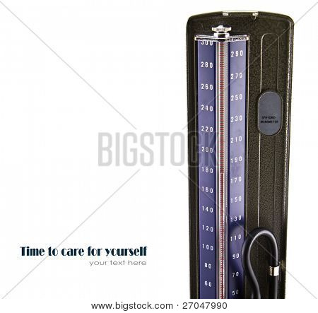 Medical sphygmomanometer for blood pressure control isolated on white background.