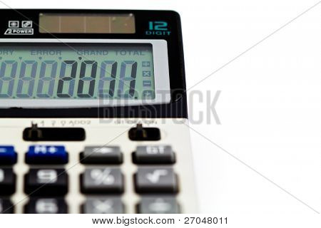 Close up of grey calculator isolated on a white background. (For New Year, 2011)