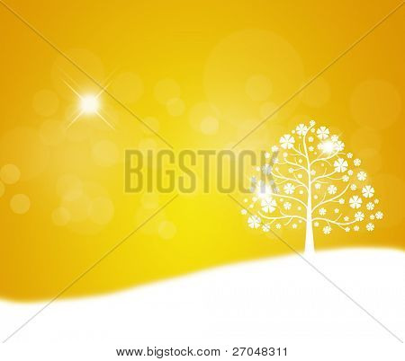 Árvore abstrata, símbolo da natureza. (fundo amarelo)