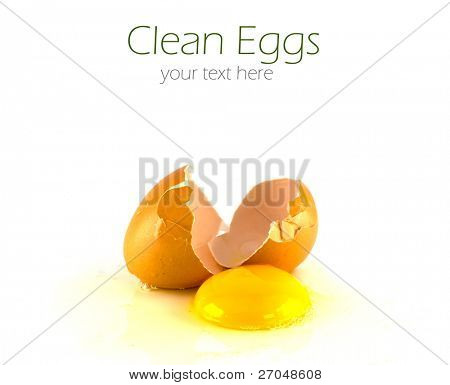 Broken egg isolated on white background.