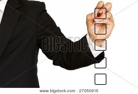 Mão de negócio escolhendo uma das muitas opções