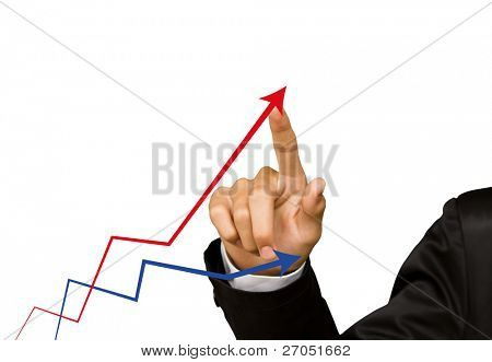 Businesswoman hand write graph isolated on white