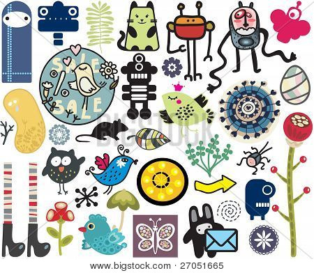 Mix of different vector images. vol.10