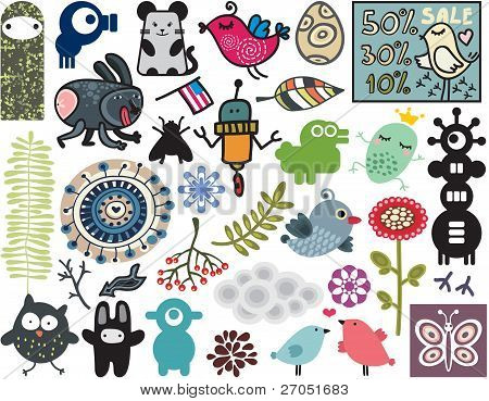 Mix of different vector images. vol.11