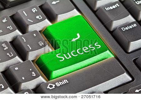 Computer keyboard - green key Success