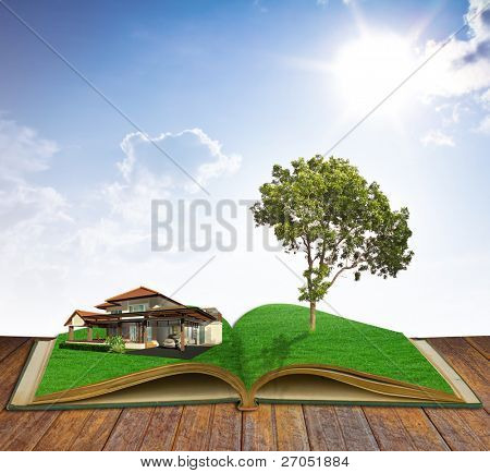 magic book with house and tree
