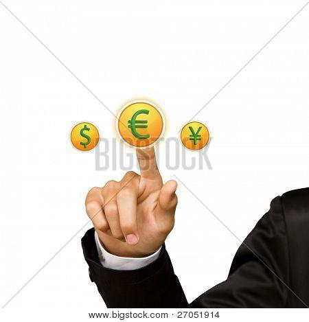 Business man hand press euro sing button