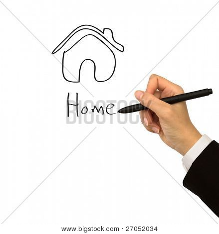 hand with pen drawing home