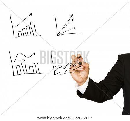 Businessman hand write graph isolated on white