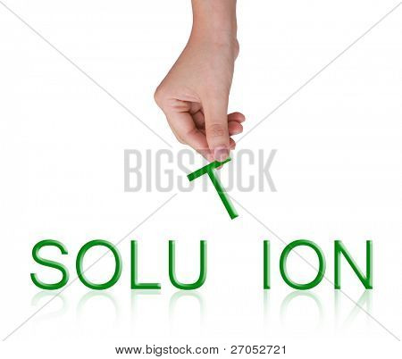 Word Solution and female hand, business concept, isolated on white background