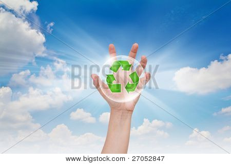 Eco concept : Business hand point recycling symbol in bubble