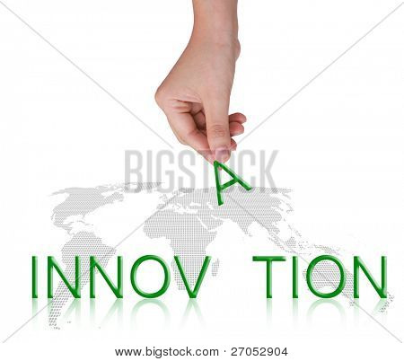 "Word "" INNOVATION ""and female hand, business concept, isolated on white background"
