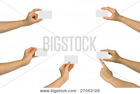 Set of hand holding an empty business card over white background