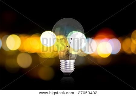 elektrische Glühlampen und Lights Out-of-Fokus