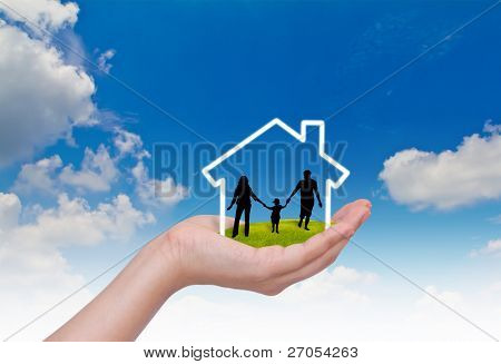 Hand with the silhouettes of the family and house