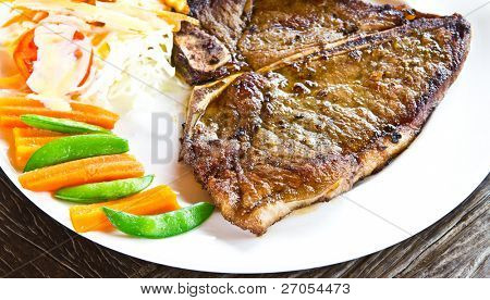 Steak on wood table