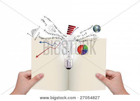 Hands holding book with light bulb and business graph out