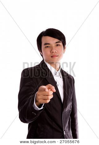 Businessman is pointing towards the front  Isolated over white background