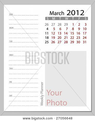 Simple 2012 calendar, March.  All elements are layered separately in vector file. Easy editable.