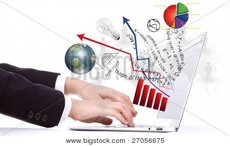 Laptop and financial Graphs
