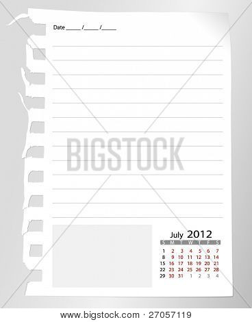 Simple 2012 calendar notebook, July. All elements are layered separately in vector file. Easy editable.