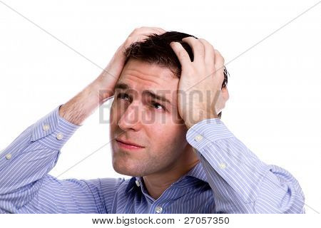Portrait of young business man sad and worrying or having pain against white background