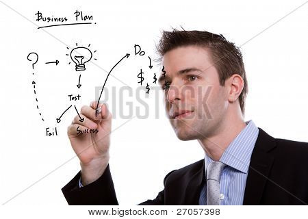 Portrait of young business man writing business plan against white background