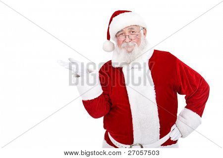 real Santa Claus presenting  product on white background