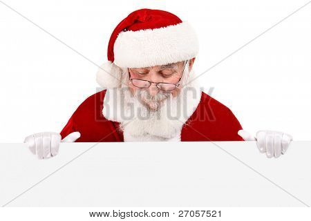 real Santa Claus with gray beard holding blank white banner , isolated on white background
