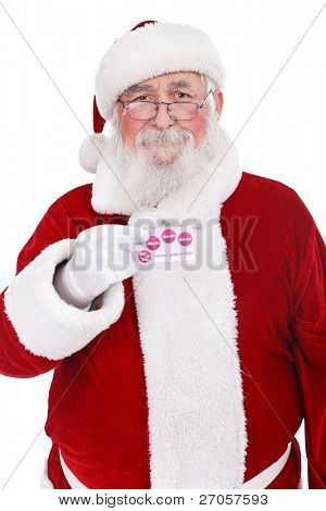 traditional Santa Claus holding credit card, Santa money, isolated on white background