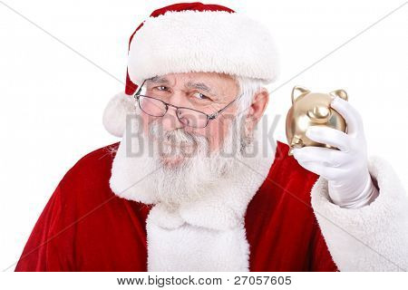 authentic Santa Claus holding gold piggy bank, Christmas budget