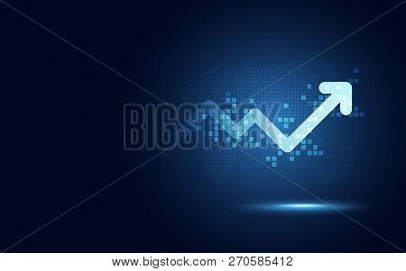 poster of Futuristic Raise Arrow Chart Digital Transformation Abstract Technology Background. Big Data And Bus