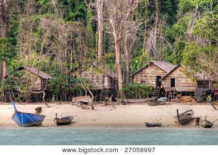 Moken Holz Dorf, die Seezigeuner der Andamanensee, Ko Surin Island, thailand