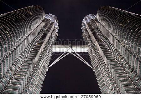 petronas tower detail by night, Kuala Lumpur, Malaysia
