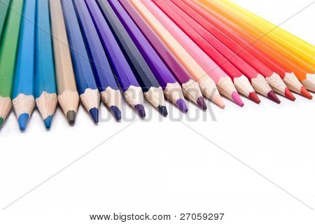 color pencil aligned and isolated on white
