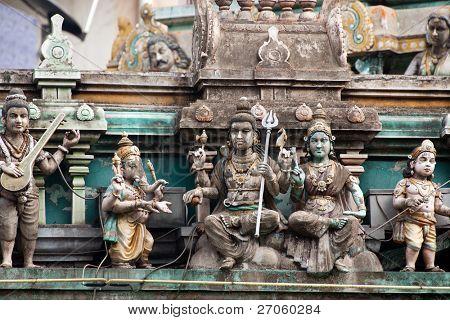 traditonal sculpture on Indian temple, little India, Kuala Lumpur, malaysia