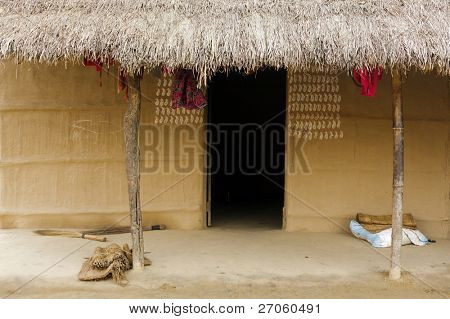 traditional Nepalese hut at Chitwan, Nepal