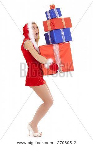 sexy Glamour Santa Frau, die viele Pakete