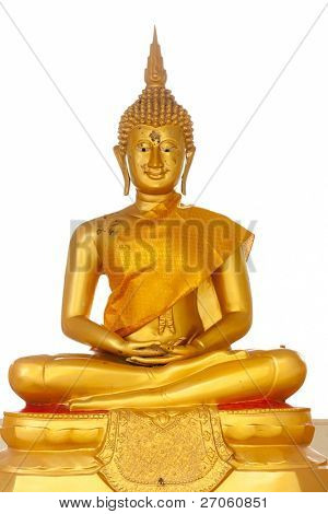 golden buddha statue isolated on white background