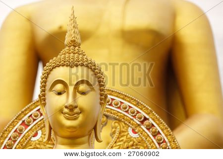 giant golden buddha head, wat muang temple, angthong, thailand