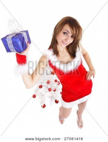 christmas woman with blue package gift and tree
