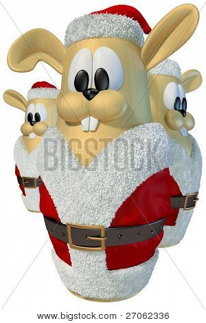 three rabbit fur coat in Santa Claus. isolated on white.