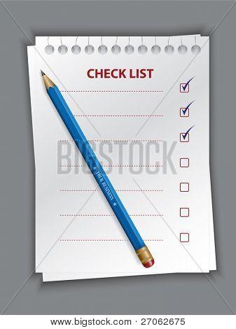 Kontrollkästchen Liste Vektor