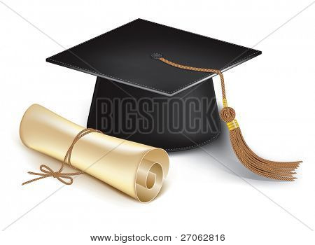 Graduation cap and diploma. Vector