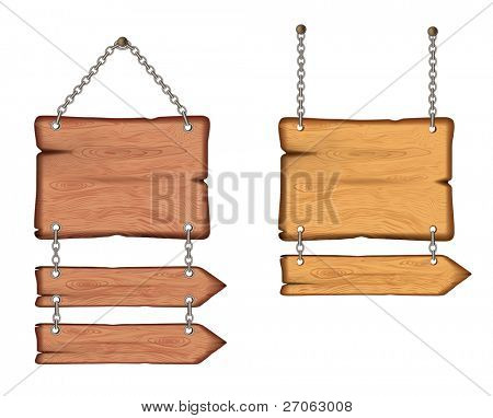 wooden sign on the chains. vector