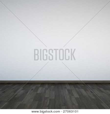 Blank white walls and wooden floor