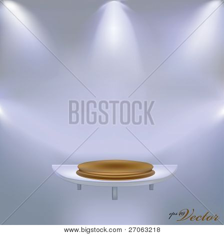 golden pedestal on the shelf vector