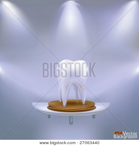 Pure white tooth on a gold pedestal