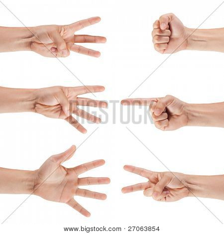 set of male hands isolated on white background